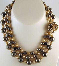 Hattie Carnegie - Collier3 Rangs - Métal Doré, Perles et Hématite Imitation - Années 60