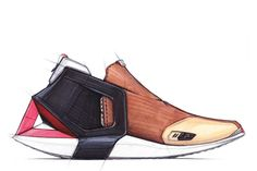 On this concept, I wanted to confront the industrial semantic  The back of the sole is extended and linked to the upper by a flexible band inscribed in the red triangle.