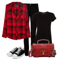 """""""Black & Red Combo (OUTFIT ONLY!) - Contest!"""" by asia-12 ❤ liked on Polyvore featuring T By Alexander Wang, Vince, Rails, Proenza Schouler, Marc by Marc Jacobs, Janna Conner Designs, women's clothing, women, female and woman"""
