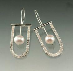 Fresh Water White Pearl Sterling Silver Hinged Dangle Earrings, Natural Fine Fresh Water Pearl, Wedding Pearl Earrings