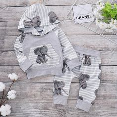 10a83f2d2 Cute Elephant Patterned Hoodie and Striped Pants Set