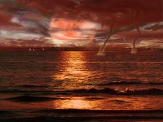 Twisters On The Sea At Sunset - Colours, Force, Nature, Sea, Sunset, Twisters