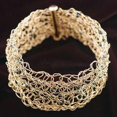 Gold Wire Crochet Cuff Bracelet with Black by NakedJewelry