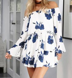 Ermonn Women Summer 2017 Beach Floral Boho Dress Loose Printing Sexy Off the Shoulder Flare Sleeve Empire Flash Neck Mini Dress Sexy Dresses, Casual Dresses, Fashion Dresses, Short Sleeve Dresses, Summer Dresses, Beach Dresses, Dress Beach, Mini Dresses, Bandage Dresses