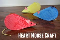 Heart Mouse craft for kids. Cute Valentine's Day mice idea!