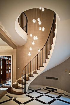 Today's emphasis? The stairs! Here are 26 inspiring ideas for decorating your stairs tag: Painted Staircase Ideas, Light for Stairways, interior stairway lighting ideas, staircase wall lighting. Luxury Staircase, Curved Staircase, Staircase Design, Staircase Ideas, Staircase Architecture, Stair Idea, Stairway Lighting, Lights On Stairs, Wall Lighting