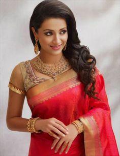 trisha-saree-stills.#trisha http://www.manchimovies.com