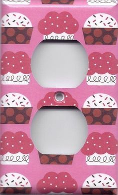 Pink and Red Cupcakes Kitchen Decor Light Switchplates and Wall Outlet Covers