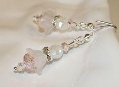 Lucite flower earrings dangling earrings by CharmingLifeJewelry, $18.00