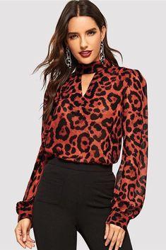 02985be3763 Multicolor Keyhole Neck Bishop Sleeve Leopard Blouses-topmaxy.com Leopard  Top