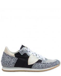 Philippe Model Tropez Bassa D Glitter Damen Schuhe schwarz