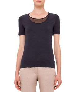 W093S Akris punto Scoop-Neck Tee with Mesh Detail