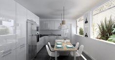 Cocina modelo Plano Laminado Blanco Polar Brillo y encimera Silestone Marengo.  La mesa del centro y la isla rectangular aportan dinamismo y originalidad.