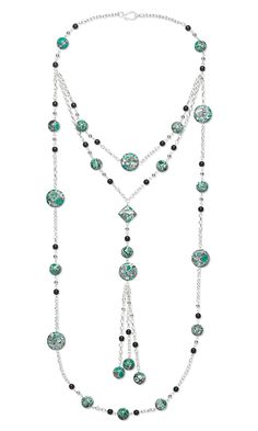 Jewelry Design - Triple-Strand Necklace with Chalk Turquoise Gemstone Beads, Czech Glass Beads and Silver-Plated Steel Chain - Fire Mountain Gems and Beads