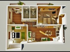 Great one bedroom apartment plans and designs — awesome simple house House Design 3d, 2 Bedroom House Design, Simple House Design, Design Living Room, Garage Apartment Floor Plans, Apartment Plans, One Bedroom Apartment, Studio Apartment, Apartment Ideas