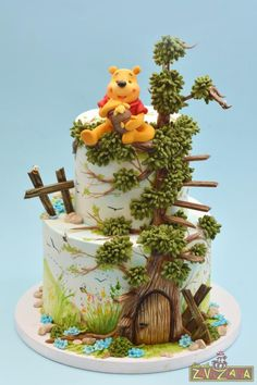 Winnie The Pooh Cake by Nasa Mala Zavrzlama(Cake Decorating Disney) Pretty Cakes, Cute Cakes, Beautiful Cakes, Amazing Cakes, Themed Birthday Cakes, Themed Cakes, Winnie Pooh Torte, Character Cakes, Painted Cakes