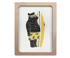 Quadro Urso Surfista Cru - 40X50cm