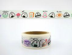 Japanese onigiri and snacks emoticon face washi tape - kawaii candy - rice balls - toast - eggs - beer - tempura - octopus - coffee cup - 5m