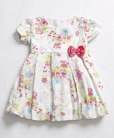 Vestido Floral Branco e Pink