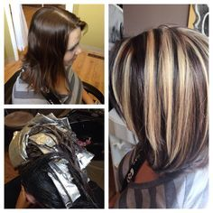 Dark brown hair with blonde highlights (double foiled to create a thick chunky look )