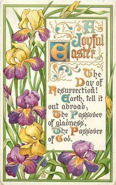 Tuck~Easter ~Arts & Crafts Postcard- ~Spring Flowers with Easter Verses, Jesus Is Risen, Jesus Christ, Happy Easter Wishes, Easter Arts And Crafts, Easter Flowers, Spring Flowers, Easter Religious, Cross Art