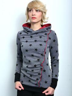 Hoodies - Kapuzenshirt grau Sterne Hoody von STADTKIND - ein Designerstück von stadtkind_potsdam bei DaWanda