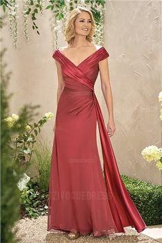 f52dcca6513 Sheath Column V-neck Floor-length Chiffon Mother of the Bride Dress Young