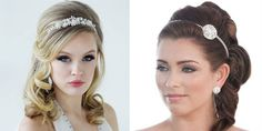 Tiaras and headbands are a glamorous bridal look!
