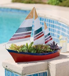 Handmade #Sailboat #Garden #Planter