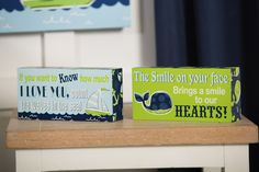 Whale And Sailboat Inspirational Wood Shelf Signs Set of 2