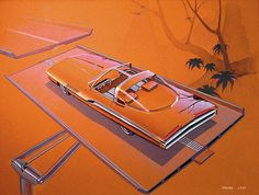 1963 Turbine Show Car  Plymouth Concept Car Vintage Styling Design Concept Rendering Sketch Drawing