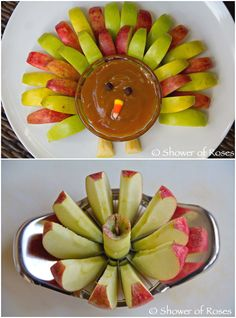 Party Food  ● Caramel Apple Turkey.  I'm going to try this again this year.  I have a lot more recipes for dairy and soy free caramel. Thanksgiving Crafts, Thanksgiving Desserts For Kids, Outdoor Thanksgiving, Hosting Thanksgiving, Happy Thanksgiving, Thanksgiving Celebration, Thanksgiving Appetizers, Thanksgiving Decorations, Halloween Appetizers