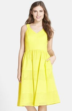 Donna Morgan Eyelet Cotton Fit & Flare Dress #yellow Flare Skirt, Fit Flare Dress, Day Dresses, Summer Dresses, Yellow Fashion, Fitted Bodice, Nordstrom, Neckline, Chic