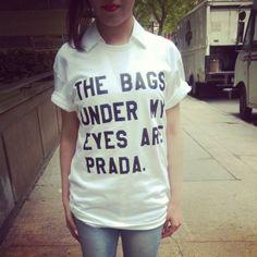 t-shirt under eye bags prada tshirts blouse top bags prada bag prada top streetstyle 708562 streetwear blogger tumblr tumblr girl tumblr outfit