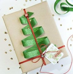 Neat idea for wrapping a Christmas gift.