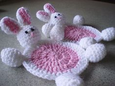 Bunny Coasters Set of 2 Easter Amigurumi by NotJustCozies on Etsy, $14.00