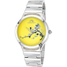 Porsamo Bleu Women's Carmen Miyota Quartz Watch, 38mm - Yellow ($155) ❤ liked on Polyvore featuring jewelry, watches, yellow, dial watches, swarovski crystal jewelry, water resistant watches, yellow watches and rose jewelry