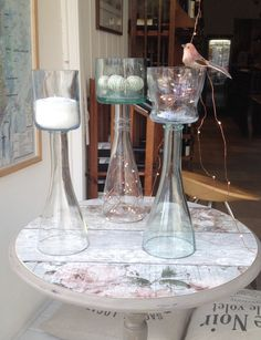 Mix & Match Wine Bottle Candelabras in delicate shades