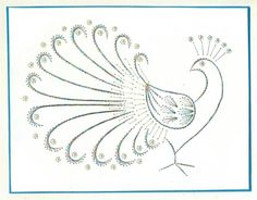 peacock - pauw kaartborduren - ik kan het oogje met een kraaltje doen en de stipjes met pailletten of plakparels