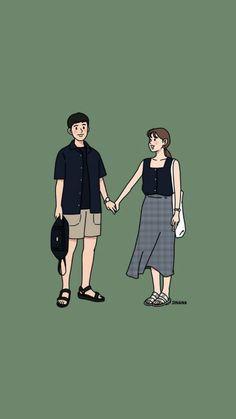 Cute Couple Drawings, Cute Couple Cartoon, Cute Love Cartoons, Cute Couple Art, Anime Love Couple, Girl Cartoon, Cute Drawings, Cute Couples, Kawaii Wallpaper