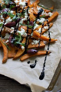 Greek Style Sweet Potatoes with Balsamic Glaze. A healthy grain and gluten free summer side dish.