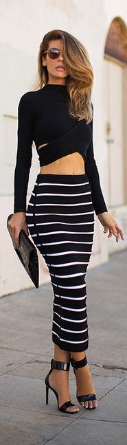 Black and white striped high waisted pencil skirt with black lon sleeve crop top