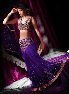 Buy Scintillating Ready Pleated Lehenga Saree online from the wide collection of Saree. Purple  colored Saree goes well with any occasion. Shop online Designer Saree from cbazaar at the lowest price.