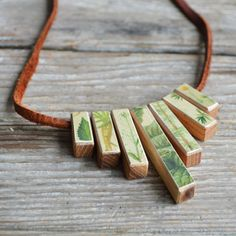 Botanical Wood and Leather Necklace, 7 Blocks by Peg and Awl