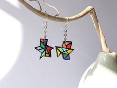 Boucles d'oreilles pop art graphiques multicolores