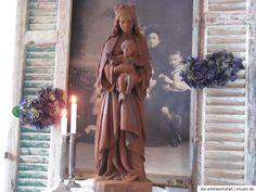 Frankreich alte Skulptur Maria Jesuskind Eisen Franske chic shabby