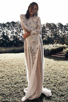 Lace Long Sleeves Boho Wedding Dresses with Open Back - Hochzeitskleid Modern Long Sleeve Wedding Dress Boho, Western Wedding Dresses, Maxi Dress Wedding, Classic Wedding Dress, Bohemian Wedding Dresses, Lace Maxi, Bohemian Wedding Decorations, Lace Silk, Lace Chiffon