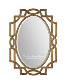 """The Opera District Mirror interlaced metal in Old World Style yet simplified for a transitional, overall look. 41"""" high.  appropriate for vanities in rooms with 9ft tall ceilings or higher."""
