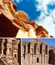 "This 150ft tall building in the ancient Nabataean city of Petra, Jordan, was laboriously carved out from the red sandstone canyons over 2,000 years ago. It resembles it's more famous neighbor, the so-called ""Treasury"" so prominently featured in the 1984 film Indiana Jones and the Temple of Doom. Curiously, both the Treasury and the Monastery are nothing of the kind – their true purposes are still unknown."