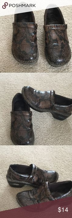 B.O.C. Snake print Shoes Man made material in China.  Shoes have some wear on soles and front.  Still good condition.  Cushioned insoles. b.o.c. Shoes Mules & Clogs